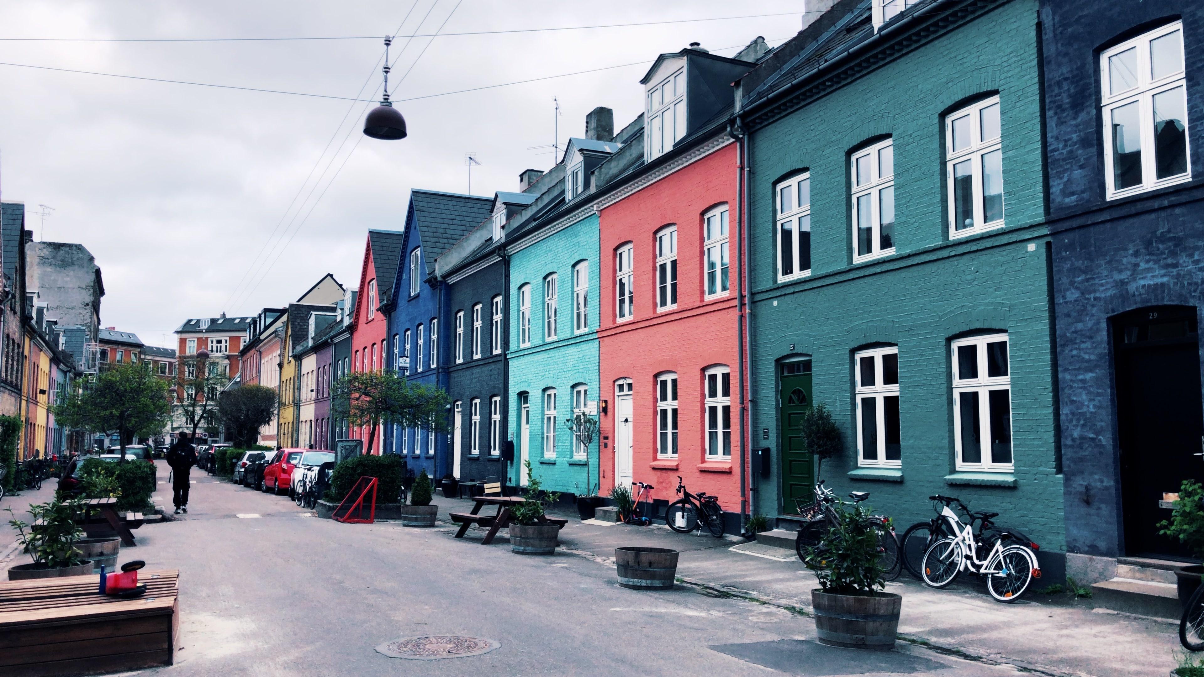 Copenhague - Olufsvej, rue colorée dans le quartier Østerbro