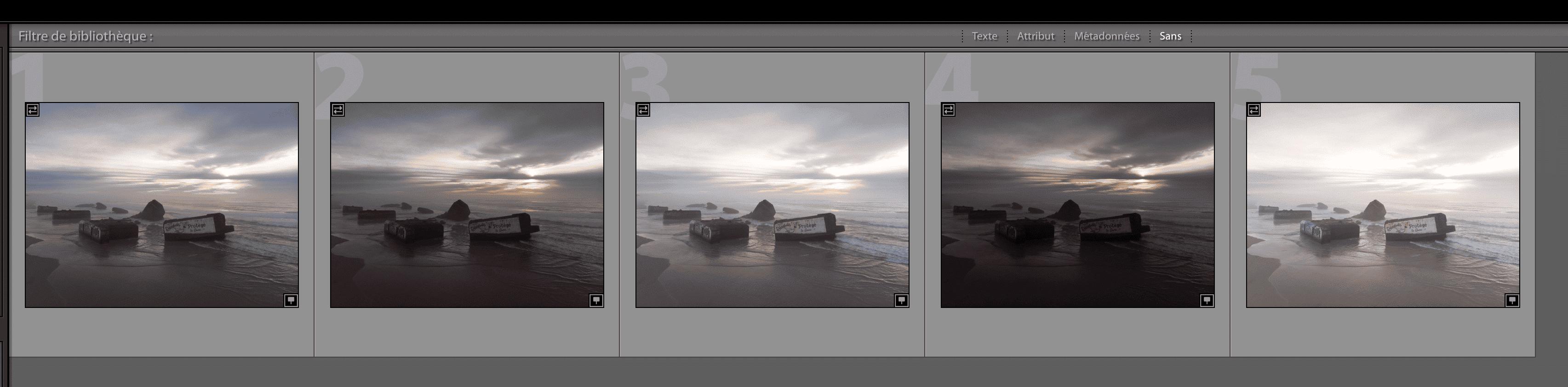 Les 5 photos générées grâce au mode AEB du DJI Mavic Air