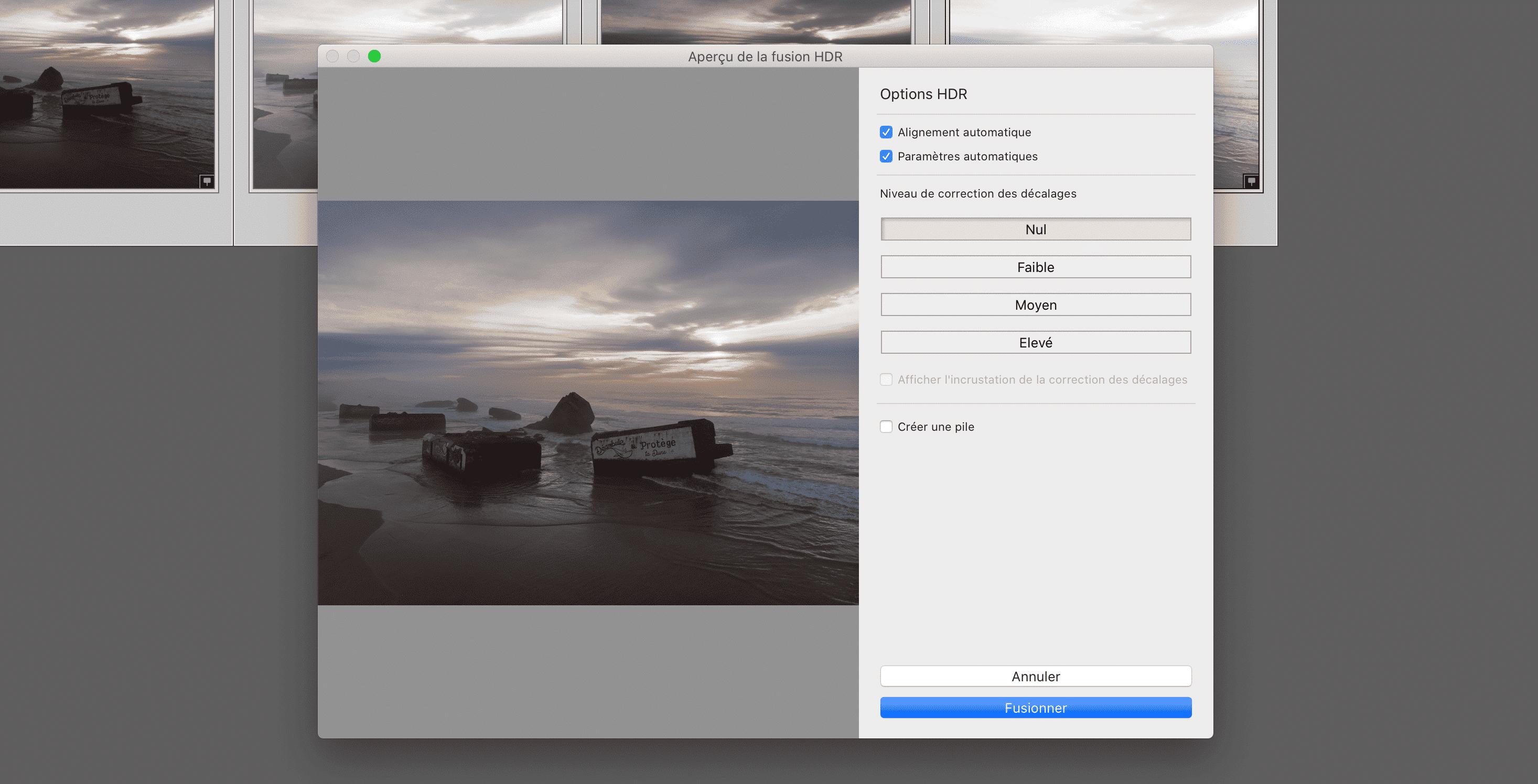 Génération d'une photo HDR dans Lightroom