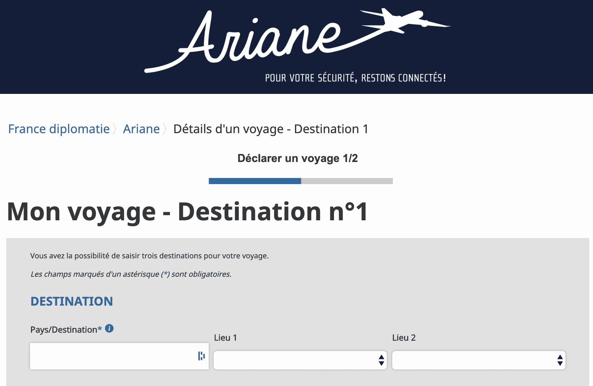 Voyager à l'étranger - Déclarer son séjour sur Ariane