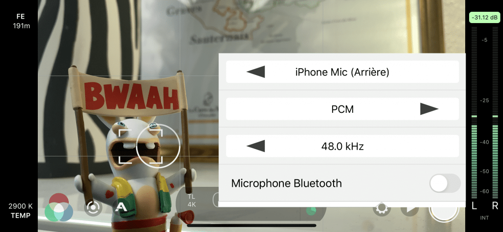 FiLMiC Pro - Réglages Audio