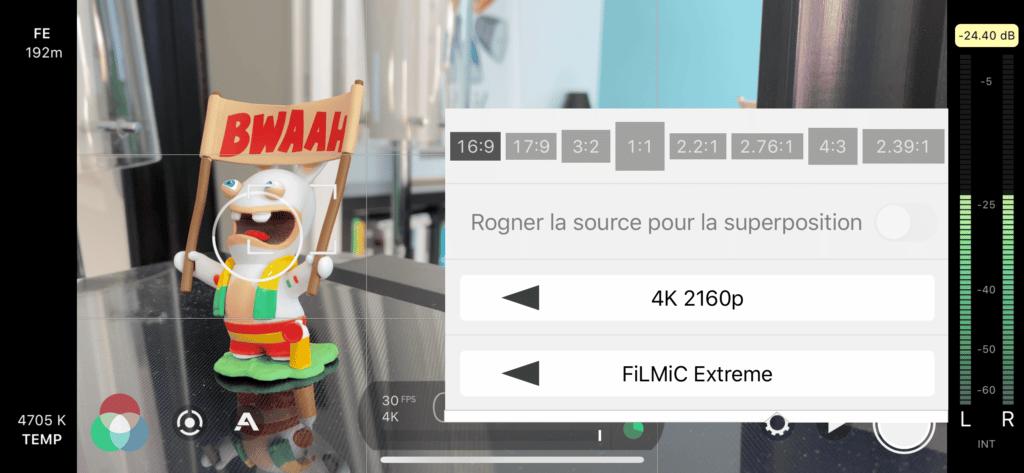Résolution et fréquence d'images - Réglages FiLMiC Pro