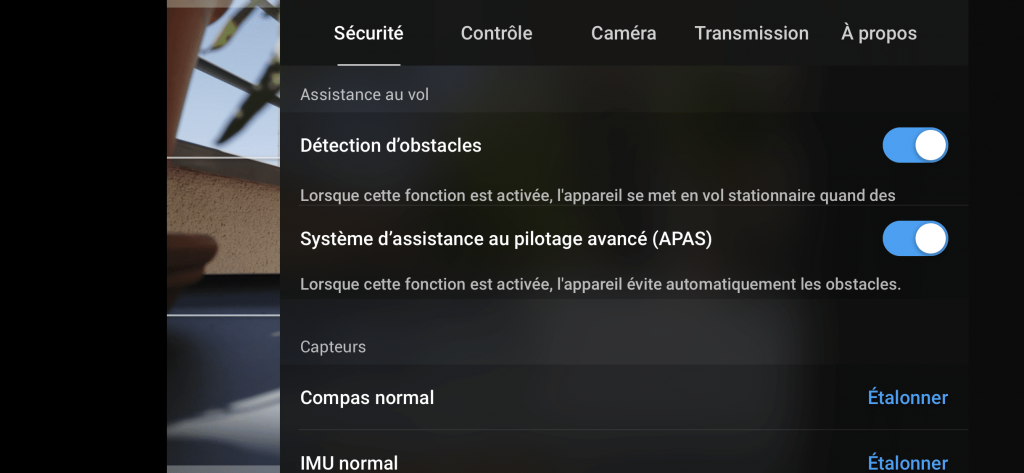 DJI Mavic Air 2 - Réglages d'assistance au vol
