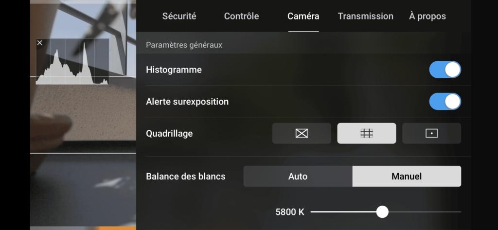 DJI Mavic Air 2 - Paramètres Caméra Généraux