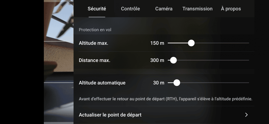 DJI Mavic Air 2 - Réglages de Protection en vol