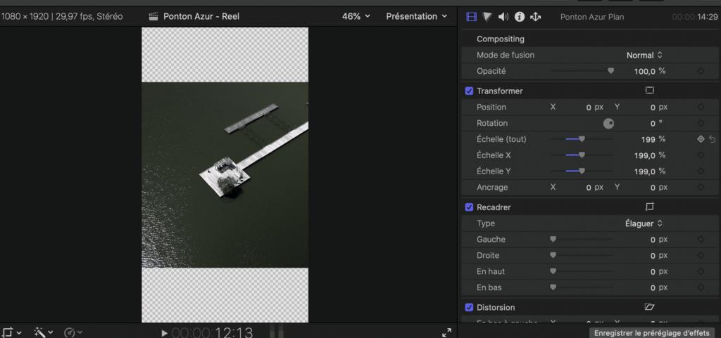 Adaptation du plan au format vertical dans Final Cut Pro