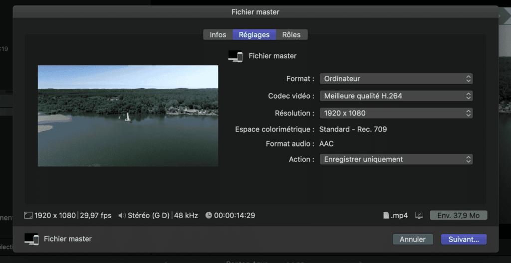 Export d'une vidéo au format optimisé pour Instagram avec Final Cut Pro X