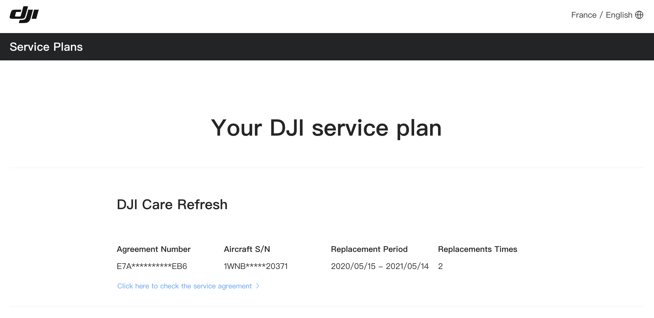 DJI Care Refresh - Vérification de la couverture