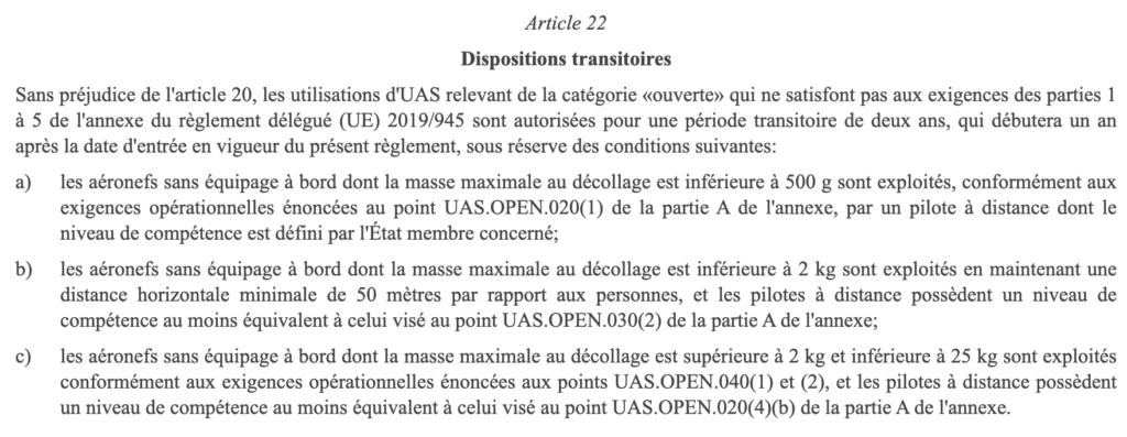 Dispositions transitoires de la réglementation européenne