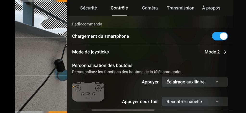 DJI Air 2S - Menu Contrôle - Radiocommande